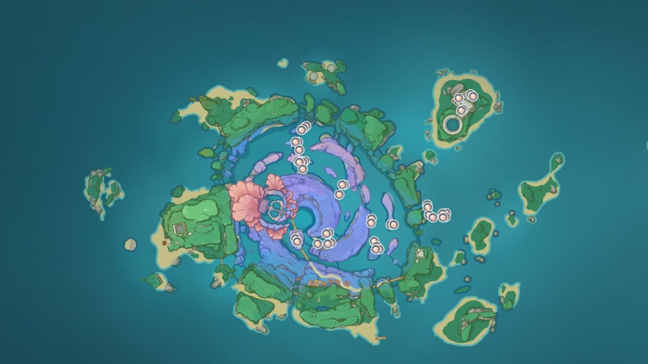 Genshin impact sango pearl locations and uses map