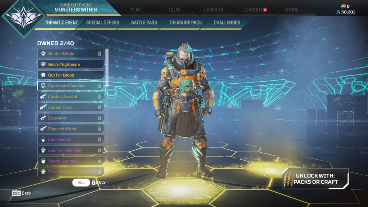 Apex Legends Halloween skins monsters within caustic