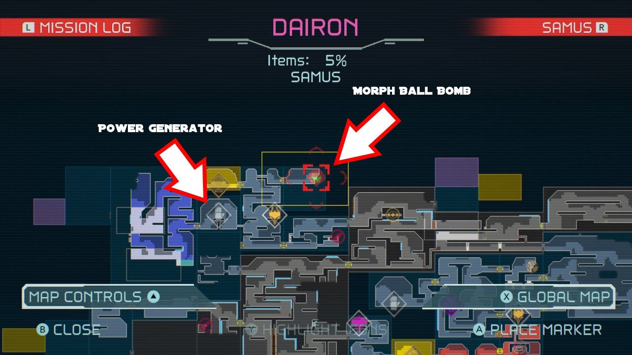 Metroid dread Morph ball bomb location
